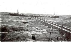 The freighter Mataafa gets caught on the north pier in Duluth after an unsuccessful attempt to enter the ship canal during a massive storm on Nov. 28, 1905. Nine of the 24 crewmen died after the ship grounded just offshore from Canal Park