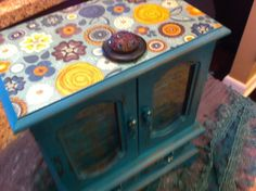 Turquoise and gold jewelry box, music box, jewelry box with rhinestone vintage buttons on Etsy, $54.95