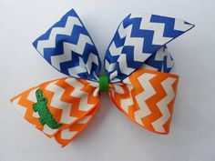 Chevron Gator Embroidered Hair bow by MaciesCustomBowZ on Etsy, $5.00