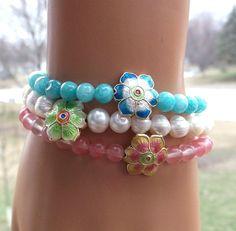 Cloisonné Flower Bracelets Spring Bracelet by BlueStoneRiver, $31.95