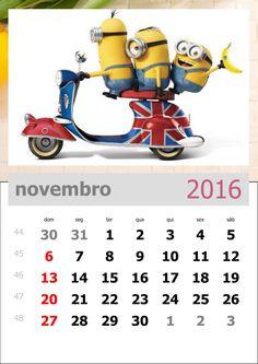 calendário dos minions mês de novembro de 2016