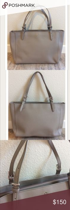 "$295 Tory Burch Large 'York Buckle Tote' In Gray High end department store customer return. Retails for $295 + Tax 100% Authentic  Very pretty Silver tone hardware Large size Main, center zip compartment Adjustable buckle straps  Measures approximately: total length across 18.75"" depth 11.25""  * One of the straps has some loose seams at the base. A few faint, normal marks on the leather. Gently used. Refer to photos.  Check out my other designer handbags and clothing!   PRICED TO SELL FAST…"