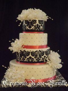Damask, peonies and Glam Wedding Cake ~ all edible