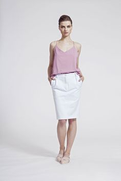 IMRECZEOVA SS16 dusty pink top and white jersey skrit White Jersey, Ss16, Dusty Pink, Pink Tops, Bermuda Shorts, Women, Fashion, Crisp White Shirt, Moda