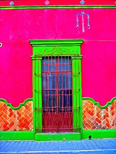 As you know I love neon colours. So I thought I would share some beautiful neon painted walls and homes. Cool Doors, Unique Doors, The Doors, Windows And Doors, Viva Color, Neon Colors, Bright Colors, Rainbow Colors, Paint Colors