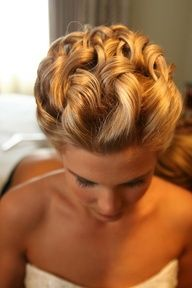 Gorgeous, curled wedding up-do