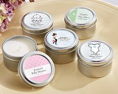 Personalized Candle Tin Baby Shower Favors are adorable and practical. Affordable Kate Aspen's baby shower candle tin favors will delight your guests. Wedding Favors Unlimited, Candle Wedding Favors, Candle Favors, Rustic Wedding Favors, Unique Wedding Favors, Wedding Party Favors, Bridal Shower Favors, Wedding Ideas, Wedding Planning