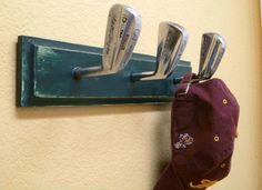 Golf Club Crafts, Golf Club Art, Vintage Golf Clubs, Golf Room, Diy Coat Rack, Coat Hooks, Golf Gifts, Do It Yourself Home, Golf Ball