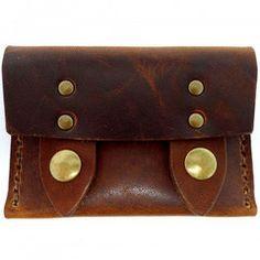 Leather Horizontal Snap Wallet Chestnut Dublin Horween - Ewin's Dry Goods