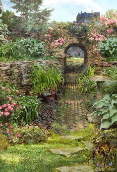 stone arch, climbing rose, paver path