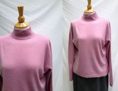 1990s Mauve Mock Turtleneck Cashmere Sweater from Lord & Taylor, Size L, Made in Hong Kong by HiddenTreasureHunter on Etsy