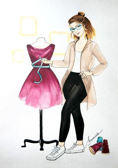 3d Art Drawing, Cartoon Girl Drawing, Girl Cartoon, Fashion Logo Design, Fashion Design Drawings, Fashion Illustration Sketches, Fashion Sketches, Megan Hess, Sewing Machine Drawing