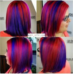 Red purple dyed hair