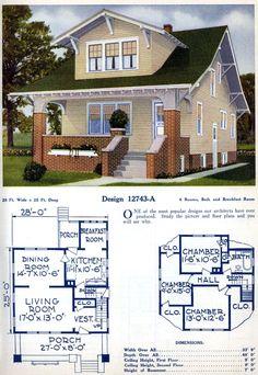 Mod The Sims - Vintage Home Design ~ Craftsman Bungalow, in the Series Craftsman Bungalow House Plans, Craftsman Bungalows, Cottages And Bungalows, Porch Columns, Home Design Floor Plans, Dinette Sets, Smoke Alarms, White Walls, Modern Design