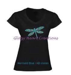 Rhinestone Dragonfly Shirt, Dragonfly TShirt,  Womens Rhinestone Shirt, Crystal Shirt, womens dragonfly shirt, ladies v neck shirt, by GlitzyHeartCreations on Etsy Gymnastics Shirts, Gymnastics Outfits, Rhinestone Shirts, Script Logo, Photo Heart, Lady V, Cool Tees, To My Daughter, Just For You