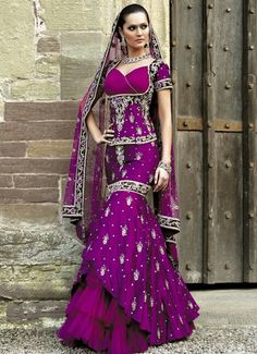 Indian Purple Wedding Gown Gold Lengha