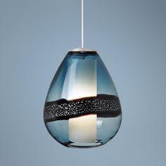 "LBL Miyu Steel Blue and Satin Nickel 10"" Wide Pendant Light"
