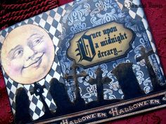 Gothic Halloween Greeting Card  Man On The Moon by ImmortalVisions, $5.50