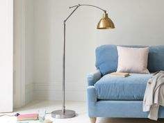 The Loco floor lamp is beautiful! It's handmade in steel with a lovely vintage brass finish on the head. It's the giant version of our popular Gaston lamp.