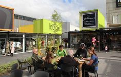 Shipping-container shopping mall in Christchurch