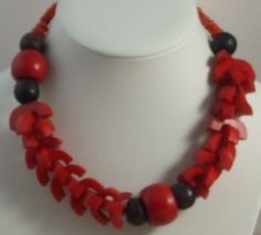 Chunky red necklace wood n bone | vintage jewellery | Jewels & Finery UK