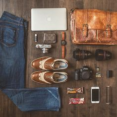 """Woww check out Nick Edmundson's beautiful His Leather Brixton fits a Fuji for fooling around, and a Canon + lenses and accessories for the """"serious business. Laptop Messenger Bags, What In My Bag, Brixton, Mens Clothing Styles, My Bags, Serious Business, Sneakers, Men Casual, Mens Fashion"""