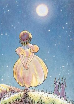 A Girl and Her Rabbits Looking at the Full Moon | Sugar and Spice Anytime Greeting Cards