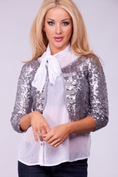 GREY SEQUINS MILITARY BUTTONS OUTERWEAR TOP