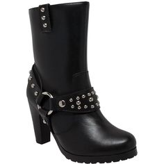 """Ride Tecs 10"""" Harness Biker Boot ($106) ❤ liked on Polyvore featuring shoes, boots, black, black engineer boots, engineer boots, moto boots, black shoes and long boots"""