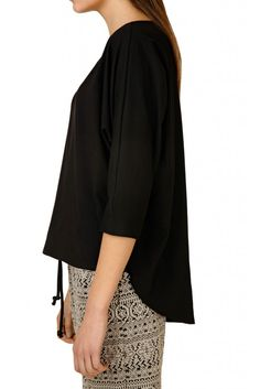 black knitted kimono blouse by Pinkfog / minimal look