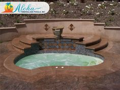 """Breeze 4a: The contoured angles of the Breeze, combined with the stairs and its full bench around the sides, make for a great place to relax at the end of the day. The Breeze is 8'6"""" x 11'6"""" and is 44"""" deep. For more information about Aloha Fiberglass Pools or to find a local pool builder in your area that can assist you, visit www.AlohaFiberglasspools.com or call (800) 786-2318."""