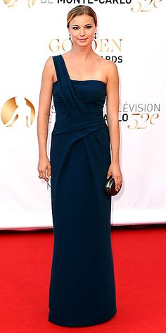 EMILY VANCAMP.  Revenge is sweet for the actress, who walks the carpet at Monte Carlo's closing ceremony in Monaco wearing a one-shoulder navy column, understated Pomellato jewelry and a bronze clutch.
