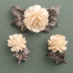 Antique Rose Brooch And Earring Set German Sterling Silver And Marcasite Carved Faux Ivory Flower  jewelry Circa 1940