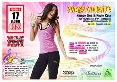 """Sabado dia 17/01 tem """"ZUMBA CALIENTE"""" no Parque LIna e Paulo Raia. Vamos fazer uma aula super quente, ritmada, com muita musica envolvente, atividade fisica intensa e promessa de um """"zilhão"""" de calorias a menos!"""