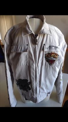 Ed Hardy Spring White Jacket For Men Size L With Design And Pockets #EdHardy #Motorcycle