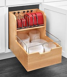 "Rev-A-Shelf 4FSCO-18SC-1 - Food Storage Container Organizer for 15""W Opening/Base Cabinet - (Wood) - The Hardware Hut"