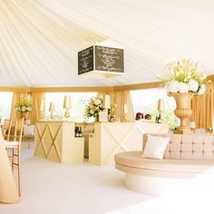 Love the and area of the white and gold The banquettes provided fantastic seating for the large guest count. Lounge Party, Wedding Lounge, Bar Lounge, Tent Wedding, Lounge Areas, Gold Wedding, Lounge Decor, Soft Seating, Event Decor