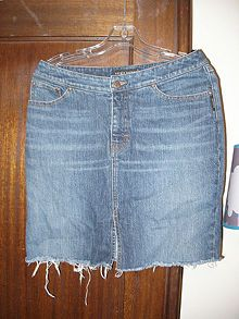 Make a Denim Skirt From Recycled Jeans | Denim skirts, Skirts and ...