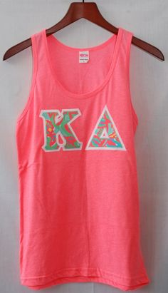 Neon Pink Tank With Lilly Print On White by UniversityShop on Etsy