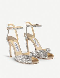 Selfridges & Co, Suede Sandals, Jimmy Choo, Slippers, Pairs, Crystals, Heels, Silver, Leather