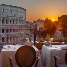 Restaurant Aroma, Palazzo Manfredi, Rome  It could be the best view in the Eternal City: a wide panorama of the Colosseum set over ruins of gladiator barracks. the food itself is worth its own Roman holiday.
