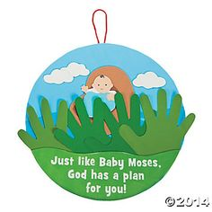 moses in basket craft | Handprint Baby Moses Sign Craft Kit