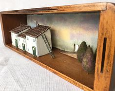 A Singer sewing machine drawer becomes Recycled wood art featuring Little Wooden Houses, a nostalgic Gift for Mum, sewing gift or New Home