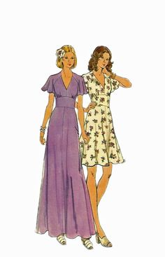Butterick 3731 1970s V Neck Midriff  Misses Dress by mbchills, $8.00