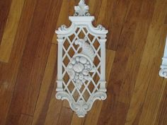 Wall Plaques Set of 4 White Fruit and Floral by LuRuUniques on Etsy