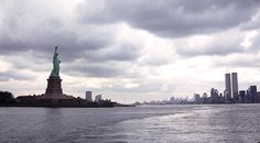 New York Harbor Panorama Twin Towers And Statue