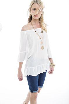 Key look: The boho blouse worn with denim bermudas. Ss15 Trends, Ss 15, Spring Summer 2015, Shoe Shop, Off Shoulder Blouse, Fashion Online, Fashion Accessories, Plus Size, Key