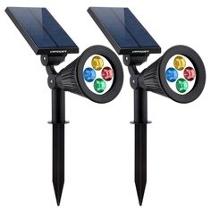 Solar Powered 4 LED Lights 2-in-1 Adjustable Spotlight Wall Light,Changing Color #URPOWER