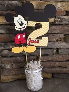 Items similar to Mickey Mouse Centerpiece Birthday Party Decorations Mickey Birthday Decor Center Piece Happy birthday First Second on Etsy Festa Mickey Baby, Mickey Mouse Party Decorations, Mickey Mouse Centerpiece, Mickey 1st Birthdays, Fiesta Mickey Mouse, Theme Mickey, Mickey Mouse Clubhouse Birthday Party, Mickey Mouse Parties, Mickey Birthday