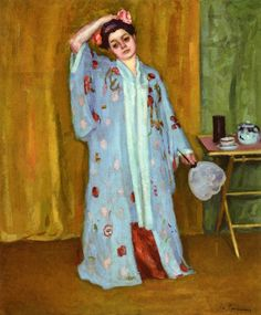 """""""The Artists Sister In A Kimono"""" by Charles Camoin, 1903"""